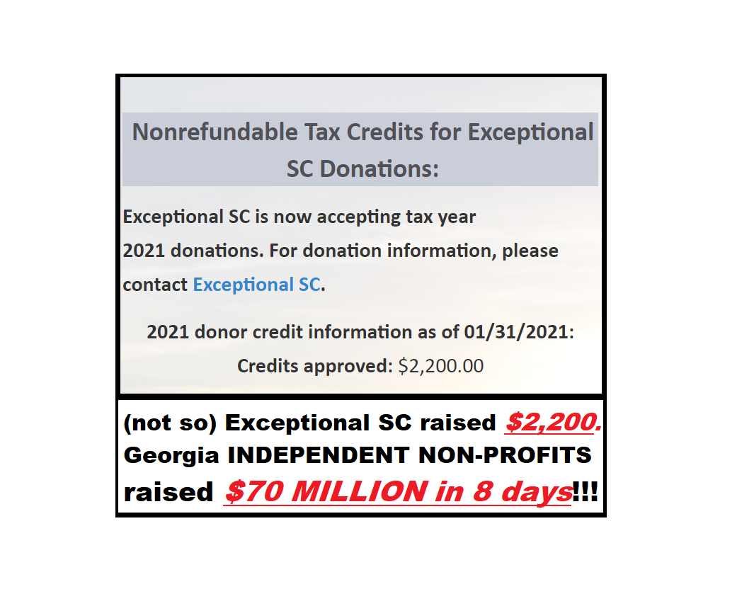 South Carolina Tax Credit Fail